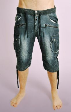 Dark Denim Shorts with Jogger Waist